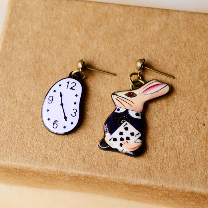 Alice In Wonderland Enamel Earrings - White Rabbit With Daly Clock