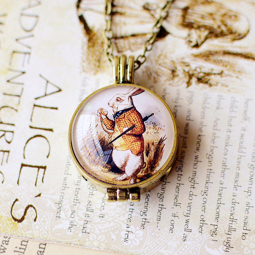 Alice In Wonderland Secret Locket Necklace - White Rabbit