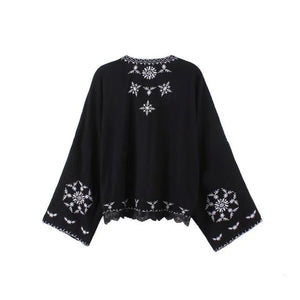Black Mandala Embroidered Kimono Jacket