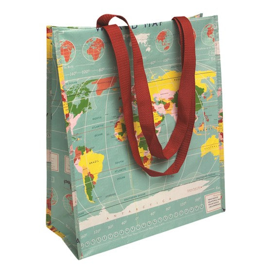 World Map Design Shopping Bag
