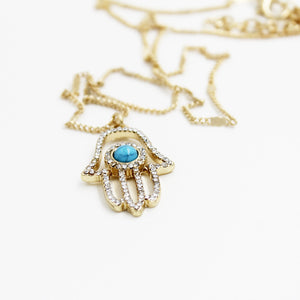 Hamsa Hand Necklace With Turquoise Evil Eye