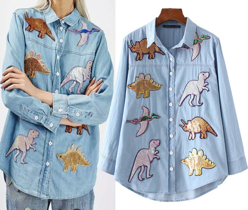 Sequins Dinosaur Denim Shirt