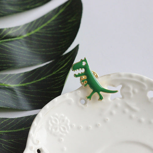 Green Dinosaur Enamel Badge