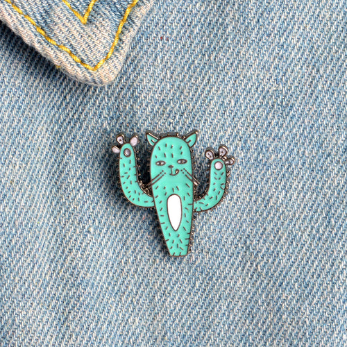 Enamel Cartoon Cactus Badge