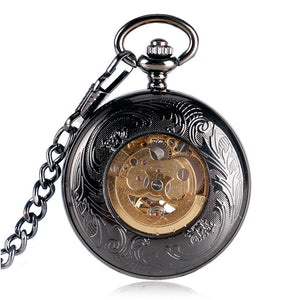 Unisex Mechanical Pocket Watch Single Hunter - Black