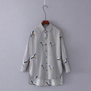 Pinstripe Blouse with Embroidered Geese