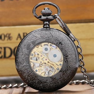 Unisex Mechanical Pocket Watch Single Hunter - Black Spider Web