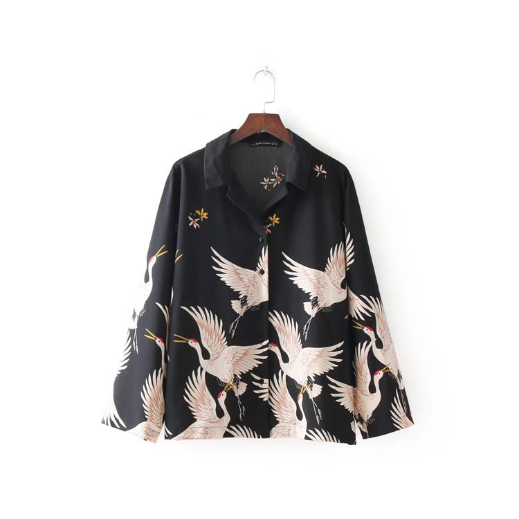 Japanese Crane Blouse