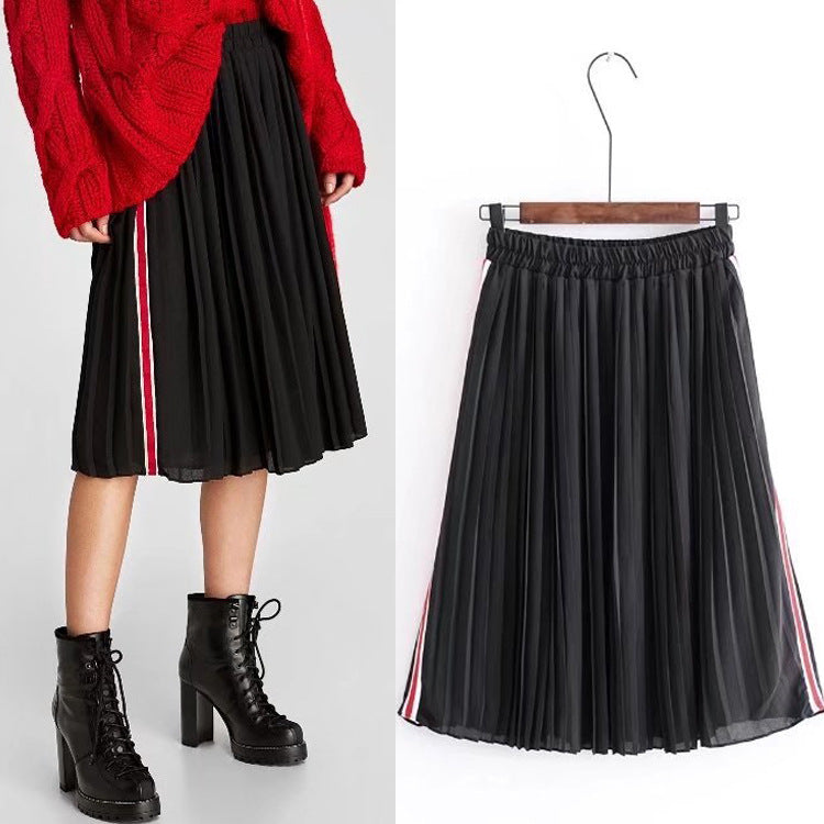 Side Striped Pleated Skirt