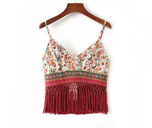 Paisley Crop Top With Red Tassels