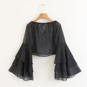 Black Flamenco sleeve Chiffon Crop Top