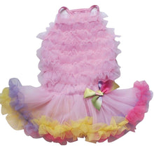 Pink Ruffle Petti Dress with Rainbow Ruffles