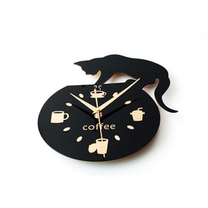 Wall Clock With Cute Cat For Those Coffee Drinkers