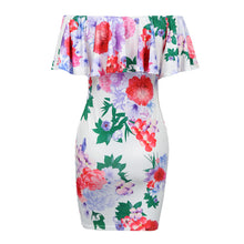 Load image into Gallery viewer, Elegant Floral Ruffle Off The Shoulder Dress