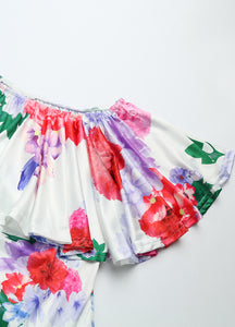 Elegant Floral Ruffle Off The Shoulder Dress