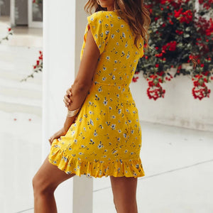 Yellow Floral Casual Short Mini Dress With Ruffles
