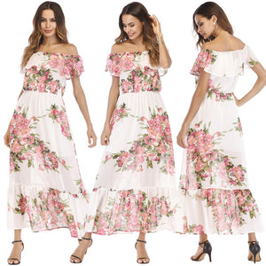 Chiffon Off the Shoulder Floral Long Summer Dress