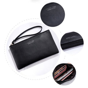 Leather Zipper Wallet Clutch Purse