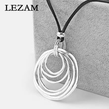 Load image into Gallery viewer, Multi-Circle Pendant With Long Velvet  Suede Cord Necklace