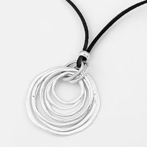 Multi-Circle Pendant With Long Velvet  Suede Cord Necklace