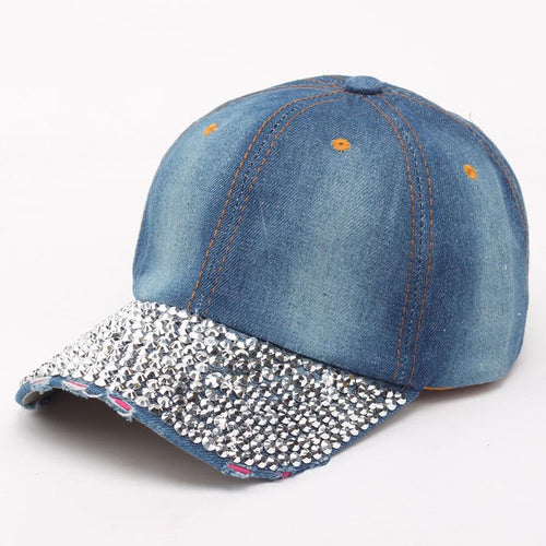 Women/ Daughter's Baseball Cap With Rhinestone Beads