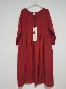 Montaigne One Size Italian Linen Dress With Side Pockets Barn Red