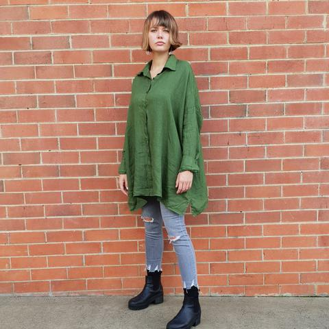 Montaigne Over Sized Boyfriend Linen Shirt Forest Green