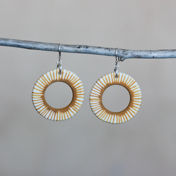 Cara Edwards Striped Mustard Hoops