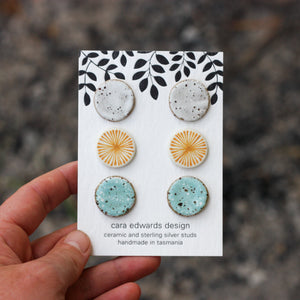 Cara Edwards Ceramic Stud Pack Yellow & Blue