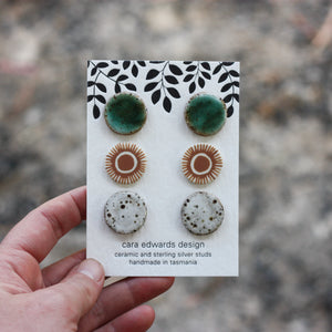 Cara Edwards Ceramic Stud Pack Aqua Rust Suns