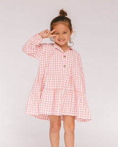 Lullaby Club Mini Avalon Smock Dress Candy Gingham