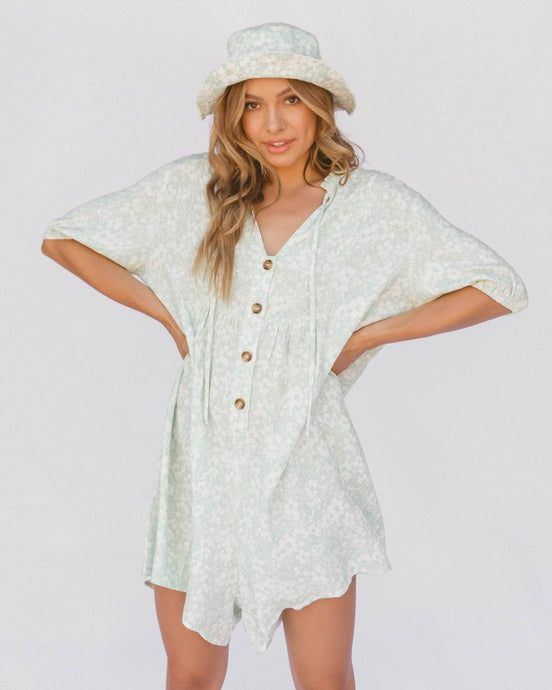 Lullaby Club Cody Playsuit Mint Daisies