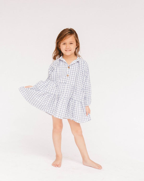 Lullaby Club Mini Avalon Smock Dress Blue Gingham