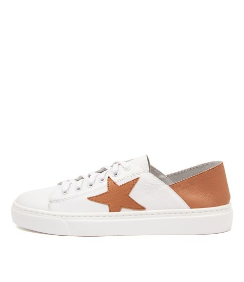 Mollini Oholiday Tan Star White Leather Sneaker