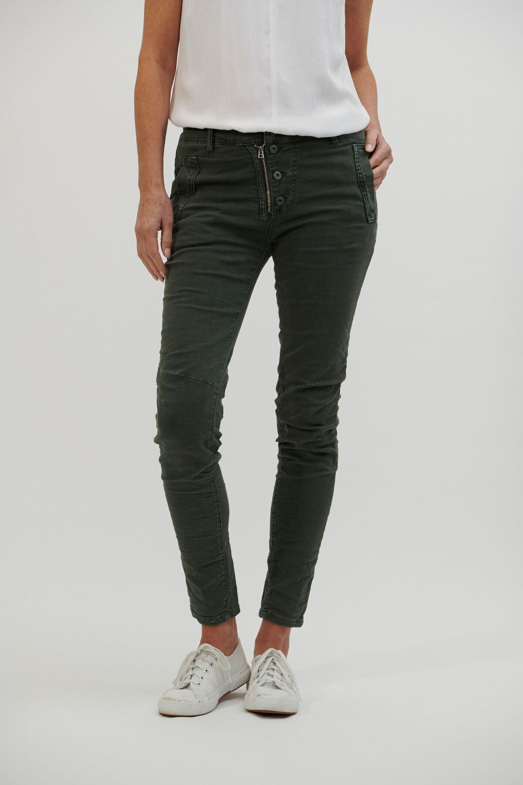 Italian Star Button Jean Military