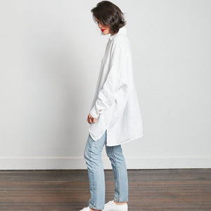 Over Sized Boyfriend Linen Shirt White
