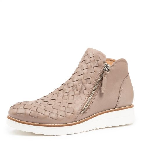 Top End Ontop Ash White Sole Woven Zip Up Boot