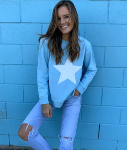 Sophie  Moran Baby Blue White Star Sweater