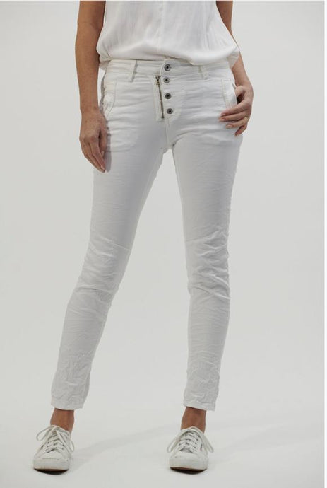 Italian Star Button Jean White