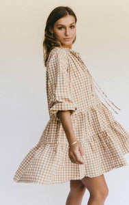 Lullaby Club Avalon Smock Dress Caramel Gingham