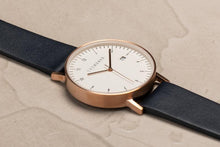 The Horse - D Series Brushed Rose Gold / White Dial / Navy Leather
