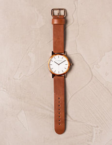 The Horse - The Resin Caramel Treacle Case / White Dial / Rose Gold Indexing / Tan Leather