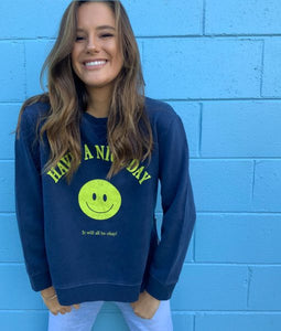 Sophie Moran Smiley Face Sweater Navy