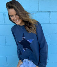 Sophie Moran Navy Sequin Star Sweater