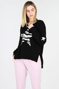 Sat + Sun Zebra Star Sweater Black