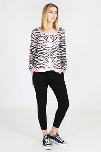 Sat + Sun Blush Marle Zebra  Long Sleeve Tee