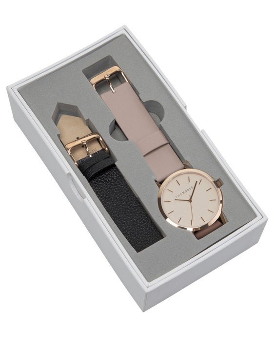 The Horse Gift Box - Polished Rose Gold / Blush Dial / Blush + Black Leather