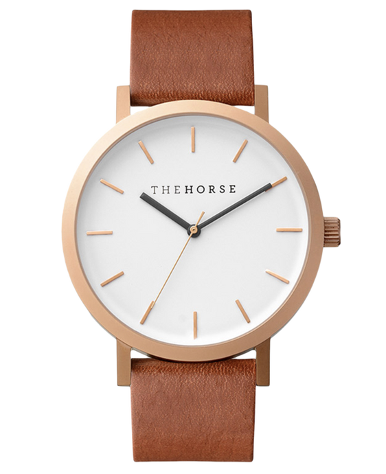 The Horse Brushed Rose Gold / White Face / Walnut Leather