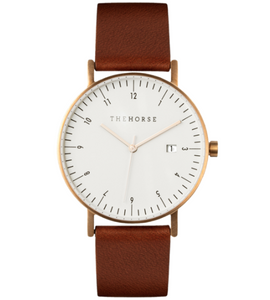 The Horse - D-Series Brushed Gold / White Dial / Coffee Leather