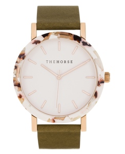 The Horse - The Resin Nougat Shell / White Dial / Rose Gold Indexing / Olive Leather